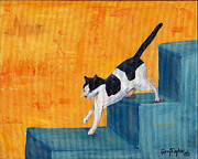 Black And White Cats Paintings - Black and White Cat Descending Blue Stairs by Terry Taylor