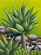 Black Cats Prints - Black and White Cats with Agaves Print by Carol Wilson