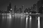 Chicago Night Scene Posters - Black and White Chicago skyline at night Poster by Sven Brogren