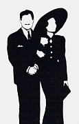 Cinema Drawings Prints - Black and White Couple Print by Mel Thompson