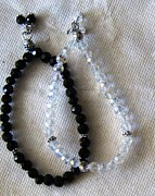 Black And White Jewelry - Black and White Crystal Bracelet by Fatima Pardhan