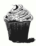Cupcake Art Posters - Black And White Cupcake by Shawna Erbakc Poster by Shawna Erback