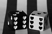 Tracy Hall Art - Black and White Dice by Tracy  Hall