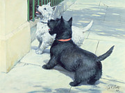 Railing Prints - Black and White Dogs Print by Septimus Edwin Scott