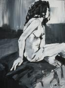 Nudes Drawings - Black and white Female Nude by Joanne Claxton
