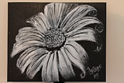 Drips Paintings - Black And White Flower by Jay Collins