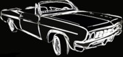 Lowrider Digital Art - Black and White by Gra Howard