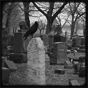 "\""stone Art\\\"" Digital Art - Black And White Graveyard by Gothicolors With Crows"