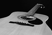 Music Photos - Black and White Guitar by M K  Miller