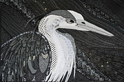 Heron Tapestries - Textiles Framed Prints - Black and White Heron Framed Print by Judy Arbuckle