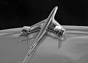 Antique Automobiles Photos - Black and White Hood Ornament by Brian Mollenkopf