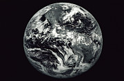 Planet Map Prints - Black And White Image Of Earth Print by Stocktrek Images