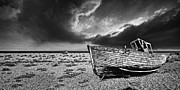 Wooden Boat Prints - Black And White In Dungeness Print by Meirion Matthias