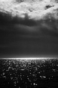 Sparkling Rose Posters - Black and White Infrared Ocean Landscape Poster by Angela Rose