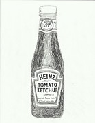 Ketchup Framed Prints - Black and White Ketchup Framed Print by Jasmine Norris
