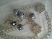Jewellery Jewelry Originals - Black and White Lampwork Necklace by Ozlem Ercan