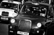 London Cab Posters - Black and White London Taxi Cabs Poster by Andy Smy