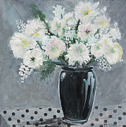 Vase Of Flowers Posters - Black and White Poster by Marilyn Woods
