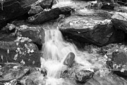 Mini Waterfall Framed Prints - Black and White Mini Waterfall Framed Print by Michael Waters