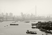 Black Commerce Framed Prints - Black and White of Cranes and River Traffic Framed Print by Jeremy Woodhouse