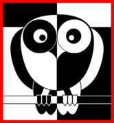 Blanck Posters - Black and White Owl Poster by Santi Goma Rodriguez