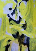 Abstract Expressionist Acrylic Prints - Black and White Plus Yellow Acrylic Print by Judith Redman