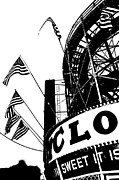 Silhouettes Mixed Media Metal Prints - Black and White Roller Coaster Cyclone Metal Print by ArtyZen Studios