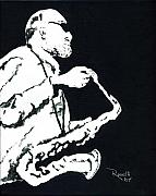 Soul Music Paintings - Black and White Sax by Richard Roselli