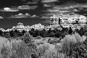 Blue Brick Prints - Black and White Sedona Landscape Print by Darcy Michaelchuk
