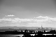 Auckland Framed Prints - Black And White Skyline Of Auckland, New Zealand Framed Print by Justin Hoffmann Photography