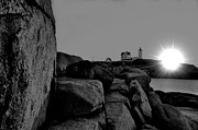 Nubble Lighthouse Photo Framed Prints - Black and White Sunrise Framed Print by Emily Stauring