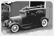 1935 Buick Prints - Black and White Surf Rod Print by Steve McKinzie