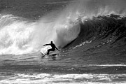 Wave Photo Framed Prints - Black and White Surfer Framed Print by Paul Topp