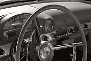 T-bird Posters - Black and White Thunderbird Steering Wheel  Poster by Heather Kirk