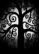 Light And Dark  Mixed Media Prints - Black and White Tree Print by Angelina Vick
