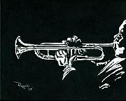 Trumpet Painting Originals - Black and White Trumpet by Richard Roselli