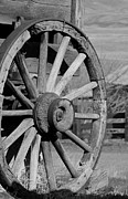 Barn Pen And Ink Posters - Black and White Wagon Wheel Poster by Athena Mckinzie