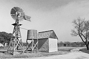 Lyndon Baines Johnson Prints - Black and White Windmill Print by Paul Huchton