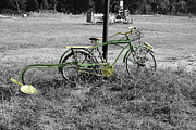 Garden Plow Photos - Black and White With Green Bike by Danny Jones