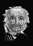 Pen And Ink Drawing Prints - Black and White with Pen and Ink drawing of a Old man  Print by Mario  Perez