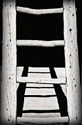 Taos Prints - Black and White Wooden Ladder Print by Bryan Mullennix