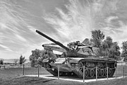 Army Tank Prints - Black and White WWII Tank Print by Linda Phelps