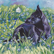 Kelpie Painting Metal Prints - Black Australian Kelpie Metal Print by Lee Ann Shepard