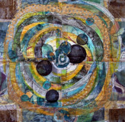 Fabric Mixed Media - Black Ball by Sue Gilliam