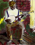By Charles Shoup Mixed Media Framed Prints - Black Banjo Man Framed Print by Charles Shoup