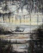 Shrimp Boat Prints - Black Bay Print by Judy Merrell