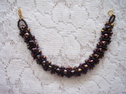 Red Beads Jewelry - Black Beaded Bracelet With Hints of Red and Gold by Yvette Pichette