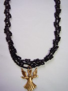 Angel Jewelry - Black Beaded Choker With Angel Charm by Yvette Pichette