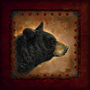 Wildlife Painting Metal Prints - Black Bear Lodge Metal Print by JQ Licensing