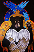 Angel Art Paintings - Black Bear Seraphim by Christina Miller